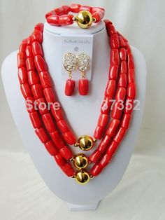 New Arrived Nigerian Bead Necklaces Wedding Coral Beads Jewelry Set African Beads Jewelry Set CWS1048 $88.18