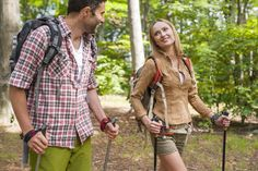 Couple enjoying nordic walk in forest Royalty Free Stock Images , Nordic Walking, Cross Training, Photo Library, Environment, Exercise, Stock Photos, Pure Products, Activities, Couples