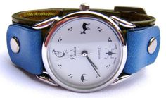 Leather Cuff Watch - Native American - Kokopelli Lizard Deer Bird - Chartreuse / Denim