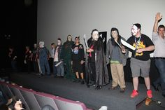 The lineup of contestants for the Costume Contest at the Aero Theater.  The Contest took place before the FRIDAY THE 13th Mini-Marathon that evening, Friday the 13th of September, 2013.  PHOTO COURTESY LEE CHRISTIAN