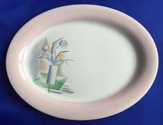 VTG Homer Laughlin Swing Eggshell Serving Platter 9 Inch Tulips In Vase Pink #HomerLaughlin #SwingEggshell
