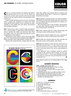 This activity takes a more graphic and independent approach to the color wheel. There's nothing more refreshing than a new take on something old. - jm Arts & Activities - Page 18
