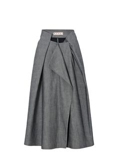 Skirt by Marni SS14 - Skirt in Batavia cotton cloquet. Unlined skirt, with front concealed buttoning. Slit pockets at the back. The origami construction draws the shape of stairs on the waistline – high at the back – and forms large pleats on the body of this skirt.