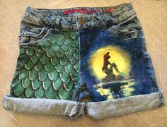 Hand painted Little Mermaid shorts