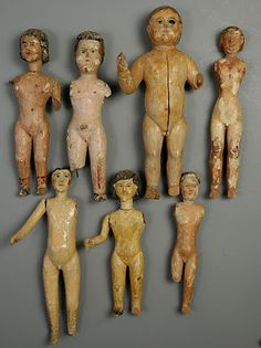 Anonymous Works: Group of Antique European Carved Wooden Dolls