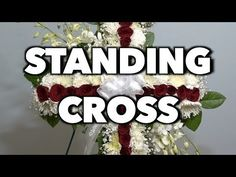 How to make a standing cross arrangement Church Flowers, Funeral Flowers, Funeral Floral Arrangements, Flower Arrangements, Wreath Stand, Funeral Sprays, Cross Wreath, Cross Crafts, Sympathy Flowers