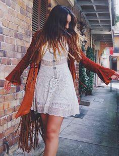 White Lace Dress, Light Leather Jacket... Bohemian Traveler