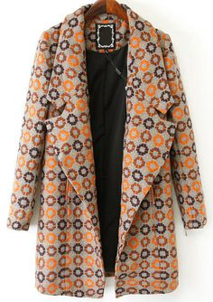 Grey Lapel Long Sleeve Geometric Vintage inspired Print Coat