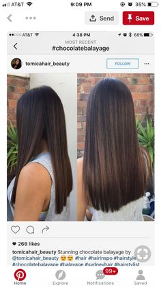 Hair style 6 Steps to Super Sleek Stylish Hair Whether you want to look great for a party and have a Balayage Straight Hair, Haircuts Straight Hair, Brown Hair Balayage, Brown Blonde Hair, Balayage Brunette, Hair Color Balayage, Brunette Hair, Dark Hair With Highlights, Hair Color For Black Hair