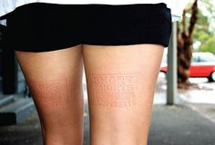 oliphillips: Great Advertising Ad agency DDB Auckland altered benches to press an advertisement for Superette, a clothing chain in New Zealand, into the bare legs of people who sit on them. 'Short shorts on sale Superette' Funny Advertising, Guerrilla Advertising, Funny Ads, Creative Advertising, Advertising Campaign, Advertising Design, Marketing And Advertising, Advertising Ideas, Marketing Ideas