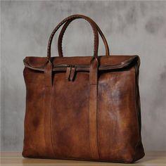 ROCKCOW Italian Leather Men's Leather Laptop Bag Briefcase Messenger Bag 9069 - ROCKCOWLEATHERSTUDIO