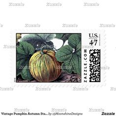Vintage Pumpkin Autumn Stamp