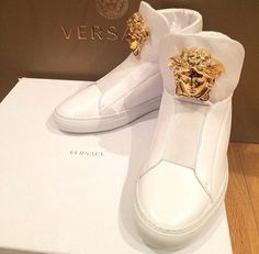 Gimme gimme gimme all white with gold hardware Versace Sneakers.. ♡♡♡♡~PorchialeanLarkin
