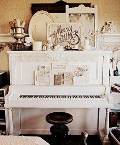 Farmhouse piano and stool. http://missgracieshouse.blogspot.com/2011/12/christmas-parlorthe-present.html