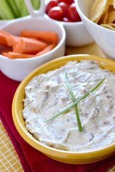Best Ever French Onion Dip Recipe ~ This thick and creamy, savory-sweet caramelized onion dip is perfect for digging into while watching the game at home, tailgating, and everywhere in between.
