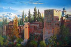 Rafael Dueñas: Visiones oníricas de la Alhambra Islamic Posters, Grenade, Spanish Colonial, Arabian Nights, Andalusia, Old City, Art Oil, Painting Inspiration, Beautiful World