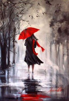 Woman with red umbrella in the rain painting. Umbrella Painting, Rain Painting, Umbrella Art, Umbrella Tattoo, Art And Illustration, Arte Black, Black Art, Rain Art, Love Art