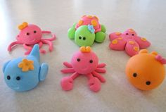 Girly Sea Creature Cupcake Toppers  1 Dozen by sweetenyourday, $20.00  adorable Turtle toppers
