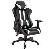 TecTake Chaise fauteuil siège de bureau racing sport ergonomique avec support lombaire et coussin noir blanc
