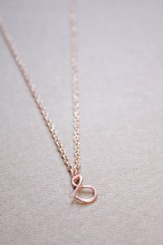 Letter S Necklace Silver Gold Rose Gold Initial by DiAndDe on Etsy