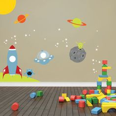 Space Wall Decal Rocket Ship Alien Planet by KidODesignStudio