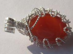 Spatial Carnelian Pendant - Carnelian Oval Cabochon Wire Wrapped in Sterling Silver Carnelian, Wire Wrapped Jewelry, Wire Wrapping, Natural Stones, Sterling Silver, Pendant, Unique Jewelry, Handmade Gifts, Shop