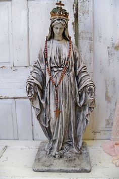 Hand painted Virgin Mary statue large distressed Madonna figure French santos inspired anita spero