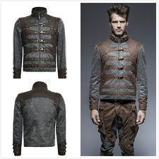 Punk rave Y-646 steampunk homme aviateur zippées stand-up col court veste manteau