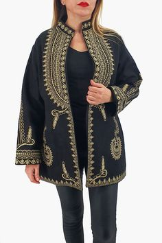 Sacou traditional Caliope 6 Peplum, Kimono Top, Traditional, Sweaters, Tops, Women, Products, Fashion, Embroidery