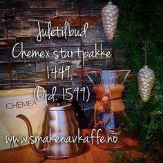 Juletilbud✨ Nå får du Chemex startpakke til kun 1449,- (ordinær pris: 1599,-). Tilbudet varer t.o.m 24.12.2016❣️Pakken inneholder 6-koppers Chemex håndbrygger, 100 stk. papirfiltere til Chemex og Hario Buono hellekanne.