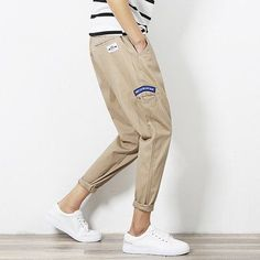 Military Midweight Flare Pants Flat Elastic Waist Loose Mid Hot Sale New Trend Spring Men's Casual Pants