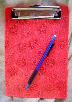 Neon pink lucite clipboard office organizer flat clip by Pinoodles, $14.00