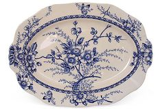 Vintage English Blue Transferware Platter Butterfly and Apple Blossoms