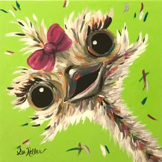 Canvas Ostrich art print from original canvas ostrich painting, colorful fun Ostrich by HippieHoundUSA on Etsy