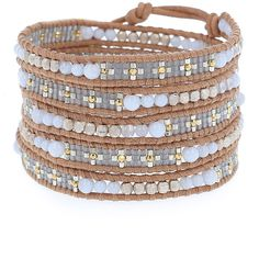 Blue Lace Sectioned Wrap Bracelet on Beige Leather - Chan Luu
