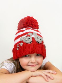 Knit Winter Hat for Kids Pom Pom Hat with Mice Red and by 2mice, $37.00