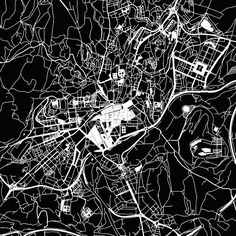 Stock Image from $0.99, Santiago de Compostela Vector Map#travel #map #monochrome #vector #streets #water #background #black #white #alpha #design #structure