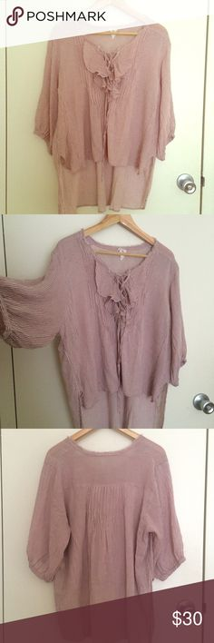 Free people lace up top Bohemian style lace up blouse. Indian pink color and pin stripes pattern. Preloved and no holes no stains. With white jeans perfect for summer. Free People Tops