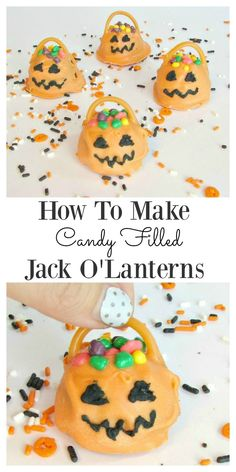 These candy filled Jack O'Lanterns would make perfect party food for the kids. They are an easy idea for the kids to make and enjoy and will look spooktacular on the party table. They are rather cute as Halloween party food goes, and the tutorial to mak Halloween Food For Party, Scary Halloween, Halloween Crafts, Halloween 2020, Halloween Books, Happy Halloween, Candy Melts, Cosmetology Cake, Malteser Cake