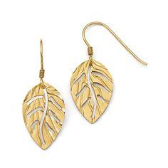 Leslie's Sterling Silver Gold-tone Leaf Shepherd Hook Earrings