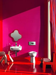 Colour Cerise Clic Decorationing Colorful Bathroom Red Kid Decor Childrens