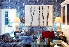 All-over blue and white pattern in the family room off the kitchen of Tory Burch's Upper East Side apartment.