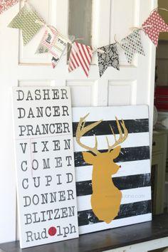Glitter deer art via www.lollyjane.com