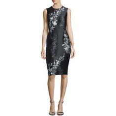 3e4f875d3e9 Shop Sleeveless Jewel-Neck Floral Sheath Dress from Carmen Marc Valvo at Neiman  Marcus Last Call