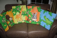 Set of 4 Bright Jungle Animal 16x20 Stretched Canvases Baby Nursery CANVAS Bedroom Wall Art