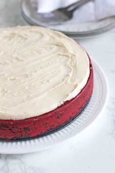 Combine two iconic desserts into one with a decadent Red Velvet Cheesecake. The perfect dessert for your holiday parties! Best Red Velvet Cheesecake Recipe, Cheesecake Recipes, Fun Desserts, Dessert Recipes, Red Velvet Cake Mix, Cocoa Cookies, Fancy, Cake Toppings, Chocolate Recipes