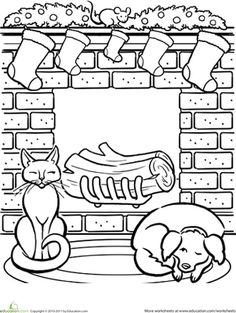 Set A Cozy Scene Of Stockings Hung By The Chimney And Four Legged Friends