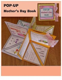"POP-UP Mother's Day Book!This is a great craft for students to complete for Mother's Day!  They create their own Mother's Day Book - a POP-UP Book!The Mother's Day Book begins with 4 pieces of paper, each 8"" x 8"".  These pieces of paper are folded and then glued together to create a 3D POP-UP Book that sits flat or when expanded, is 8"" x 8"" x 4"" (height).Includes step-by-step instructions, graphics and templates needed to create this POP-UP Mother's Day Book.Requires:  Paper (I used regular…"