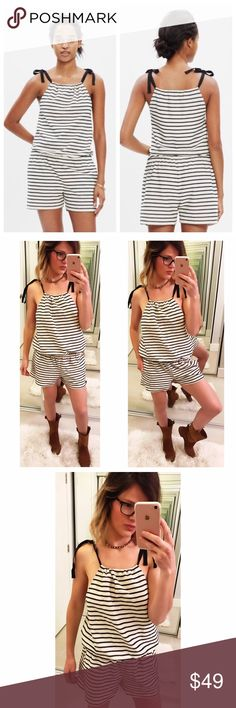 ➡️Madewell Tie Shoulder Striped Romper⬅️ An easy pull on romper with cute tie straps that makes for an effortless outfit in playful striped. Gathered waist with pockets. You can gather it in the top too and play with the look. 💕Offers welcome. Take 30% off your entire purchase automatically at checkout when you use the bundle feature, or make an offer for your bundle. Happy Poshing!💕 Madewell Pants Jumpsuits & Rompers