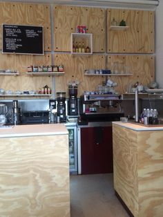 Great design with Underlayment at The Breakfast Club Amsterdam Coffee Bar Design, Cash Wrap, Plywood Interior, The Breakfast Club, Retail Space, Menu Design, Counter Tops, Coffee Shop, Breakfast Club